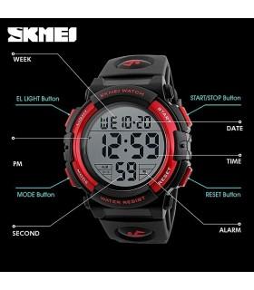 Reloj digital SKMEI deportivo caballero Sport negro y rojo