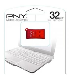 PNY Pendrive Micro Sleek 32GB USB 2.0 Mini Rojo
