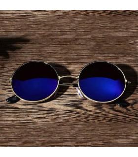 Gafas de Sol Flip  Redonda cristal espejo Retro polarizada azul