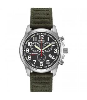 Reloj Automático hombre Citizen Eco-Drive Chandler AT0200-05E correa tela Men's Chronograph Green Canvas Strap 39mm Watch