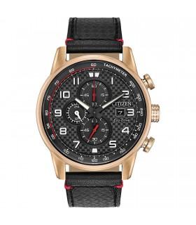 Reloj Hombre Citizen Eco-Drive CA0683-08E correa cuero 45mm Cronógrafo