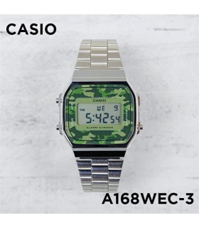 reloj hombre mujer CASIO Camouflage A168WEC-3e plateado verde