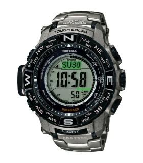 Reloj Hombre Titanio Solar Casio Pro Trek PRW-3500T-7 Men's Tough Solar Silver-Tone Titanium Band 56mm Watch PRW-3500T-7