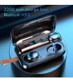 Auriculares con Bluetooth 5.0 auriculares inalámbricos con cargador de 2200mAh impermeables con micrófono color negro