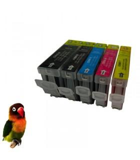 (pgi-5bk, cli-8bk/c/m/y) Pack 5 cartuchos tinta (con chip) compatibles canon