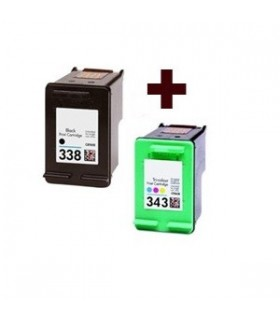 HP 338 + HP 343 Pack cartuchos compatibles negro hp 338 y color hp 343 alta capacidad