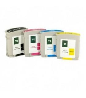 HP 10 / HP 11 pack 4 tintas compatibles HP 10 BK + HP 11 C/M/Y