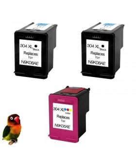 3 Tintas 304XL DeskJet 3720 3730 3732 compatibles alta capacidad negro-color