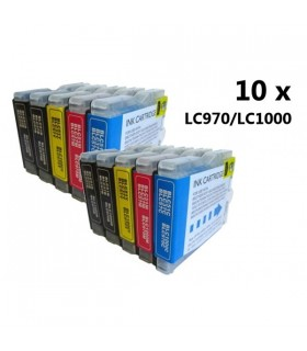 Brother LC970/LC1000 (bk-c-m-y) pack 10 tintas compatibles