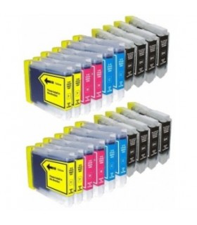 Brother LC970/LC1000 (bk-c-m-y) pack 20 tintas compatibles