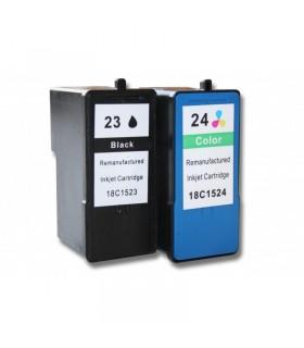 pack cartuchos compatibles Lexmark 23 (negro) + Lexmark 24 color