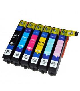 T2431/2/3/4/5/6 EPSON pack 6 cartuchos compatibles Epson T2431-T2432-T2433-T2434-T2435-T2436 Alta capacidad xp-750 xp-850 xp-950