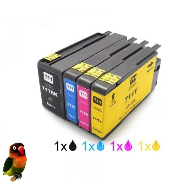 HP 711 PACK 4 TINTAS compatibles con HP DesignJet T120 / T520 / T520