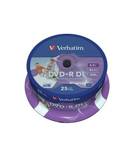 Dvd+r doble capa photo printable verbatim tarrina 25 uds. 8x