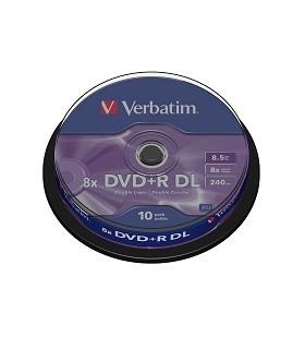Verbatim dvd+r doble capa matt silver 8x tarrina 10