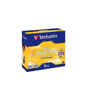 Mini dvd+rw 8 cm verbatim 4x matt silver pack 5 jewel case