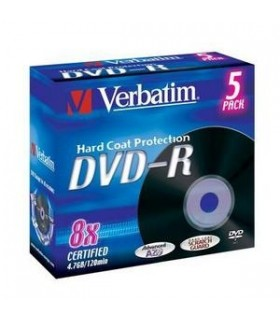 DVD-R 8x Verbatim HardCoat Black Jewel Case 5 uds