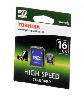 Tarjeta MicroSDHC 16GB Clase 10 UHS-I Toshiba 40MB c/Adap SD-C016UHS1(6A