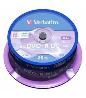 DVD+R Verbatim 8x Doble Capa Tarrina 25 uds