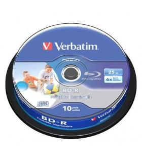 Blu-ray BD-R SL 25GB 6X Verbatim FullFace InkJet Printable Tarrina 10 uds