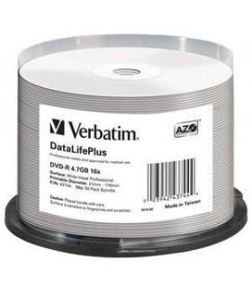 DVD-R 16x Verbatim Inkjet Printable Blanco FULLFACE Tarrina 50 Uds.