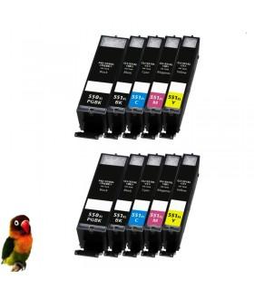 (PGI-550XL,CLI-551XL-BK/C/M/Y) Pack Ahorro 10 tintas (Alta Capacidad) Canon Pixma IP7250 MG5450 MG6350 MX725 MX925