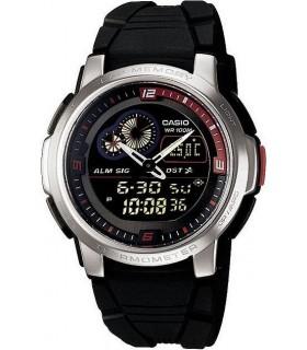reloj hombre Casio AQF-102W-1B rojo negro termómetro correa caucho